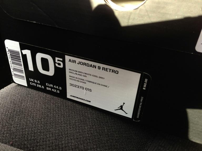Air Jordan Retro 9 (Cool Grey) Box